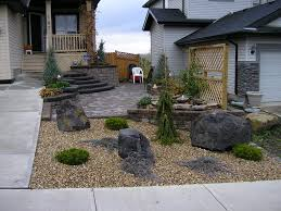 outstanding stone landscaping ideas with green front yard desert landscaping with cool stone patio homelk