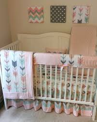 blush pink mint peach and grey crib bedding set with arrows