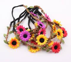 sunflower headband bohemian sunflower headband festival wedding sun flower