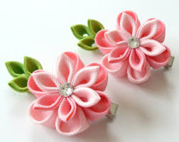 How To Make Flower Hair Clips - kanzashi flower etsy