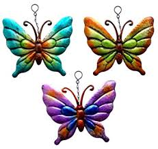 set of 3 metal hanging butterfly garden ornaments wall metallic