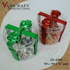 Wholesale Christmas Gift Wrap - 100 food grade clear plastic 90mm round shape container with bow