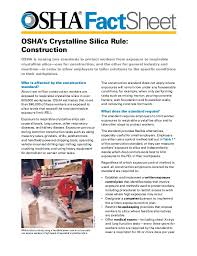 osha silica rule table 1 osha fact sheet osha s crystalline silica rule construction