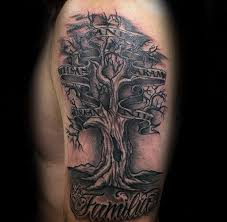 gentleman with family tree with names in trees