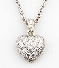 cartier heart necklace images Cartier 18k white gold diamond pav heart pendant necklace w 16 jpg