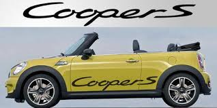 mini cooper porsche mini cooper s vinyl side decal graphic pair stripe garage