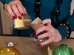 make glitter glass ball ornaments hgtv