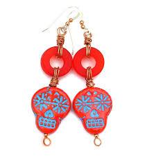 red turquoise sugar skull handmade earrings halloween day of the