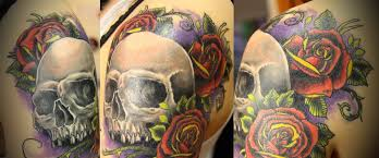 color with a skull on a purple background skull tattoos