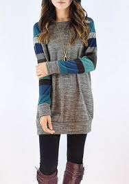 grey yellow color block striped patchwork long sleeve casual t