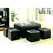 dark brown storage ottoman sophisticated brown leather ottoman coffee table 4 tray top espresso