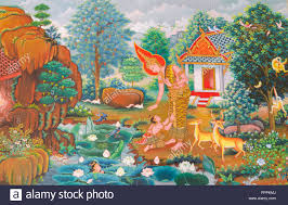 artist painting temple wall mural stock photos artist painting art thai mural mythology buddhist religion on wall in wat neramit vipasama dansai