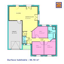 plan maison plain pied 100m2 3 chambres modele maison elza becokit maisons ossature bois plan plain