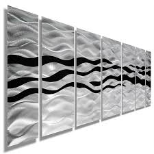 modern abstract black silver contemporary metal wall art home all natural silver black