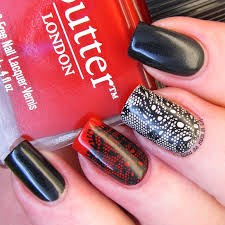 it u0027s all about the polish black and red lace nail design