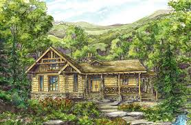 log cabin with wraparound porches 13309ww architectural