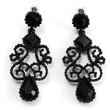 black drop earrings black bead drop earrings avalaya polyvore