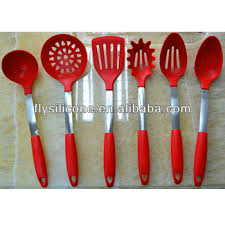 Red Kitchen Utensil Set - set of 6 piece red cooking utensils set silicone tools buy
