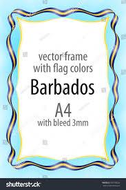 Uganda Flag Colours Frame Border Ribbon Colors Barbados Flag Stock Vector 700736056