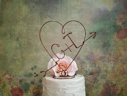 rustic monogram cake topper rustic wedding heart and arrow cake topper rustic monogram cake