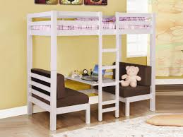smal stained oak wood loft bunk bed with brown upholstered sofa