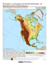 North Anerica Map Maps Population Landscape And Climate Estimates Place V3