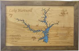 Blank Sc Map by Wood Laser Cut Map Of Lake Hartwell Ga U0026 Sc Topographical