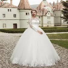 elegant long sleeve wedding dress ball gown garden lace applique