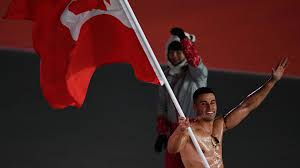 Canada Flag Bearer Winter Olympics 2018 Tonga Shirtless Flag Bearer Pita Taufatofua