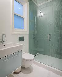 penny round tile bathroom contemporary with beige tile floor beige
