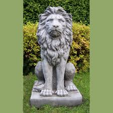 lion garden statue large proud lion garden statue cast onefold uk