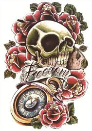 freedom skull u0026 roses sleeve tattoo tattooforaweek temporary