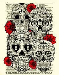 Halloween Skull Drawings Sugar Skull Art Sugar Skull Collage Dictionary Art Print Wall