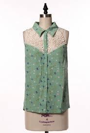 bird blouse blouse graceful wings bird print lace yoke sleeveless blouse