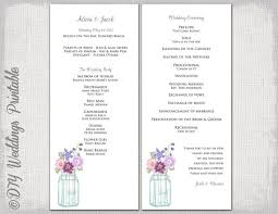 Wedding Bulletin Wedding Program Template Mason Jar Wedding Program