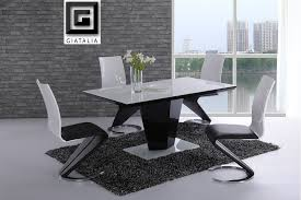 Black And White Dining Room Sets Enthralling Black And White Dining Room Set At Table Cozynest Home