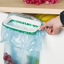 hanging kitchen cupboard door back stand trash garbage bag storage