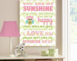 Owl Room Decor You Are My Sunshine Owl Decor Owl Canvas Art Baby Girl