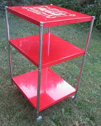 coca cola 3 tier shelf metal rolling utility cart storage stand