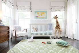 nursery with green quatrefoil rug transitional nursery
