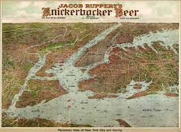 Old Map New York City by New York City By Knickerbocker Beer 1912