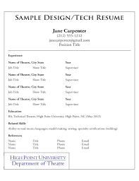 Actors Resume Samples by Acting Resume Template High Point University Free Download
