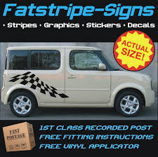 cube cars honda nissan cube checker flag car vinyl graphics stripes decals