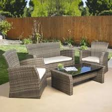 Resin Patio Furniture by 4 Piece Patio Furniture Set In Outdoor Resin Wicker With Black