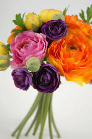 ranunculus bouquet flower bouquet 9 orange purple yellow