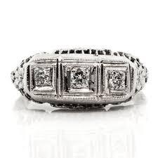 art deco three stone diamond gold ring claude morady estate jewelry