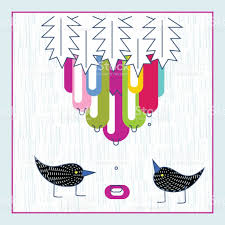 cute birds exotic fruit water drops baby shower invitation card