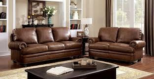 Top Grain Leather Living Room Set Rheinhardt Cm6318 2 Pieces Brown Top Grain Leather Match Sofa