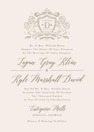 Customizable Wedding Invitations Classic Crest Customizable Wedding Invitations In Beige Or Gold