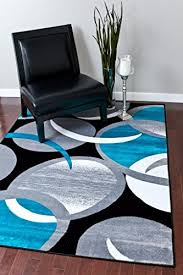 Area Rugs Turquoise 1062 Turquoise Gray Black Swirls 5 2 7 2 Area Rug Abstract Carpet